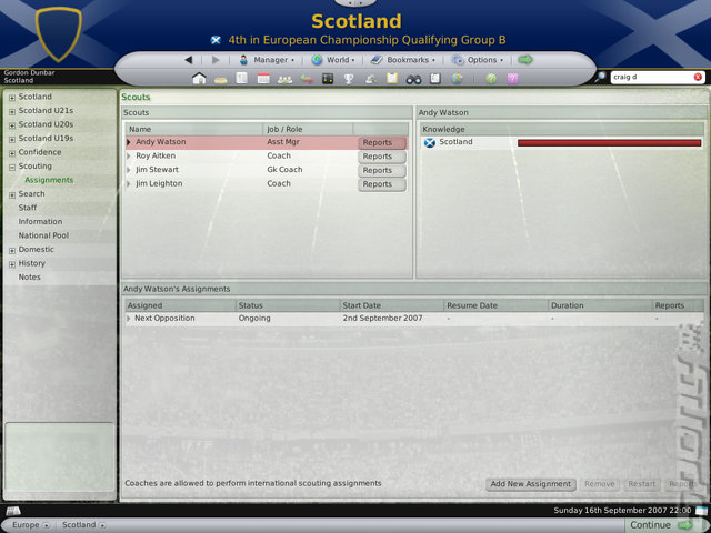 Football Manager 2008 - PC Screen